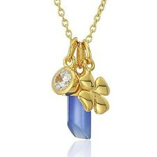Argento Vivo Multi 18KT Gold Vermeil 925 Charm Necklace w CZ Clover & Raw Stone