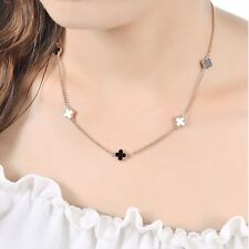Women's 18K Rose Gold GF Four Leaf Lucky Flower Pendant Necklace Clover Chain