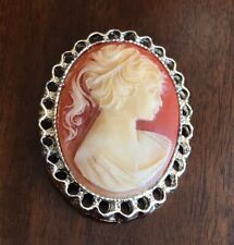 Vintage Faux Cameo acrylic oval pin Silver Tone Bezel