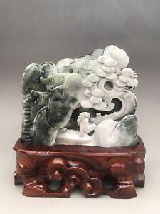 Chinese natural handcarving DUSHAN Jade landscape statue D009
