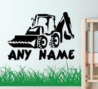 Personalised DIGGER BUILDER Wall Art Kids Sticker Vinyl DECAL ANY NAME nursery