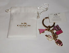 Coach Pink Cheerleader Football Multi Mix Keychain Key Ring Charm Fob 61903 $48