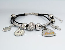Genuine Braided Leather Charm Bracelet With Name - STACEY - Gifts for her