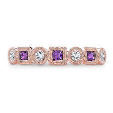 14k Rose Gold Princess Purple Amethyst Diamond Bezel Alternating Band Ring