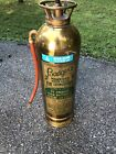 """Vintage """"BADGER'S Bell System Brass WATER (EMPTY) Fire Extinguisher 1960"""