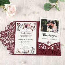 50set 5x7.2 inch Red Laser Cut Hollow Floral Wedding Invitations Cards Envelope