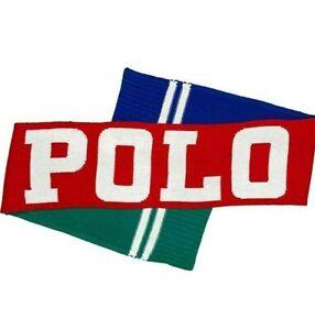Ralph Lauren POLO Men's Logo Striped Blue Green Multicolor Knit Scarf NWT