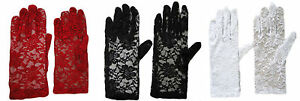 LADIES PARTY DRESS PROM EVENING WEDDING BRIDAL SHORT LACE GLOVES
