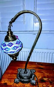 STUNNING Blue Moroccan Turkish Mosaic Glass Hanging Lamp