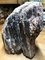 Black Tourmaline Crystal Gemstone With Mica & Quartz Large Geode Specimen 332