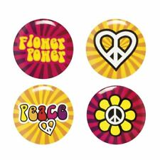 Flower Power Hippie Peace Button Badges