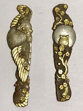 Antique Japanese Mixed Metal Ornaments Gold Silver Bronze Copper Owls
