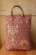 William Morris Leather handled Tote bag in Snakeshead Red