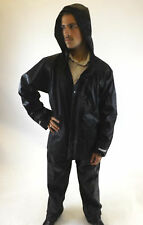 New Jacket & Trousers Black Mens Waterproof Hooded Outdoor Clothing M L XL