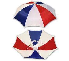 Umbrella Hat Cap Hands Free Head Strap Sun Rain Red White Blue