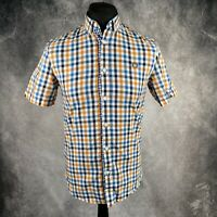 FRED PERRY Blue, White & Orange Check Gingham Short Sleeve Shirt Small