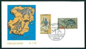 GERMANY FDC 1978 MESSEL FOSSILS FOSSIL PREHISTORY HORSE BAT PALEONTOLOGY h3724