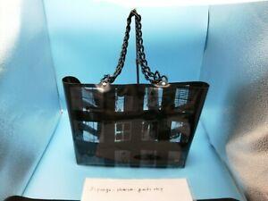 CHANEL Windows Line PVC Vinyl Chain Shoulder Bag Tote Bag Black/Clear very good
