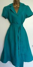 Betty Jackson Turquoise Heavy Linen Rockabilly Swing Dress 50s Style with Sash12