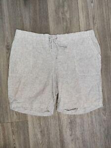 Talbots Women's Size 18W Blue White Pinstripe Drawstring Linen Bermuda Shorts