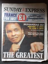 Daily Express 05/06/2016. Death of Muhammad Ali