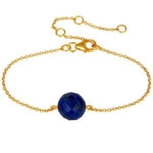 Lapis Lazuli 18K Gold Plated 925 Sterling Silver Bracelet Gemstone Jewelry
