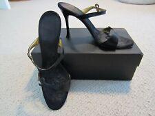 GIUSEPPE ZANOTTI Riccioli Capretto Klimt Black Leather Sandals Heels 37.5 7 1/2
