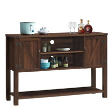 Console Table Sideboard Buffet TV Stand w/ Bottom Shelf & Storage Cabinets Brown
