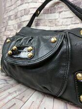 B. MAKOWSKI Gorgeous Black Pebbled Leather Shoulder Hobo Gold Hardware EUC