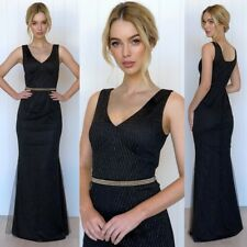 Amazing Black Maxi Dress Size 14 Long Length Gold Black Glamour Formal Party