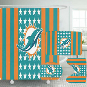 Miami Dolphins Bathroom Rugs 4PCS Shower Curtain Non-Slip Toilet Lid Cover Gifts