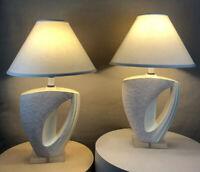 Pair Vintage Mid Century Danish Modern Circa 1980s Deco Memphis Lucite Lamps