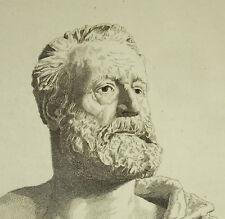 Buste de Victor Hugo par A D Nageot d'après Flaguière c1850 gravure print