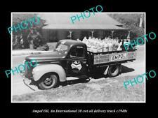OLD LARGE HISTORIC PHOTO OF AMPOL OIL Co INTERNATIONAL HARVESTER TRUCK c1940s