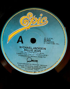 "BILLIE JEAN   Michael Jackson   Vinyl Record LP 45 7""   Original 1982"