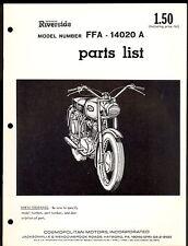 WARDS RIVERSIDE FFA 14020 A  / PARTS MANUAL / COMOPOLITAN MOTORS