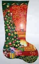 NEEDLEPOINT Handpainted Canvas LEE Christmas Stocking CHRISTMAS ROOM 18M