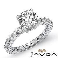 Round Cut Diamond Eternity Style Engagement Ring GIA H VS2 14k White Gold 1.8 ct