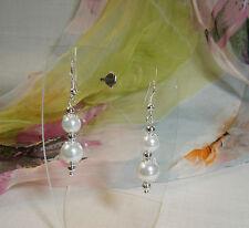 Bridal WHITE Imitation Pearl Bead Filigree Caps Ball.Bead Drop Pierced Earrings.