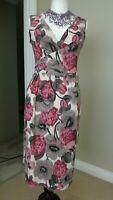 PHASE EIGHT Pink Mix Stretch Wiggle Pencil Dress Size 10 Christmas Party Evening