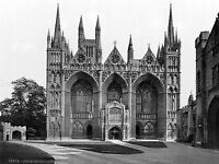 PETERBOROUGH CATHEDRAL WEST FRONT ENGLAND OLD BW PHOTO PRINT POSTER ART 1538BWLV