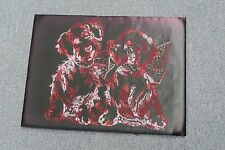 "VINTAGE COMPLETED NEEDLEWORK EMBROIDERY DOGS PUPPY ART DECO 12"" X 16"""
