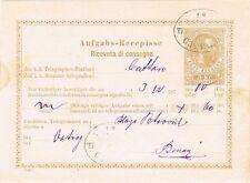 ÖSTERREICH TA 8 ° TELEGRAMM-AUFGABE-RECEPISSE aus KOTOR 1877