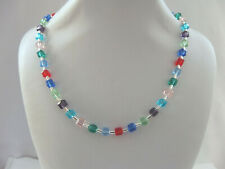 Multi Coloured square cube Glass and Silver Bead Necklace