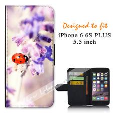 iPhone 6 PLUS 6S PLUS 5.5inch Wallet Flip Case Cover Pretty Lady Bug Y00888