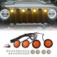 4X Raptor Style Amber Lens Grille LED Lights Fit For Jeep wrangler JL 2018-2019