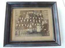 "Deep Walnut School House Class Pic antique frame 12"" x 14"" Gold Liner Eastlake"