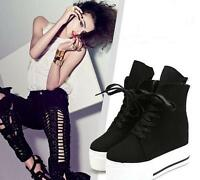 Casual Women High Top Wedge Platform Fashion Sneakers Lace Up Sport Shoes Canvas