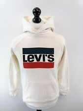 LEVI'S Mens Hoodie Jumper S Small White Cotton