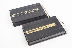 2 Graflex 2 1/4 x 3 1/4 Graphic Model 2 Film Pack Adapter Camera Back V18